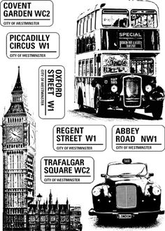 A5 sheet of rubber with each image individually trimmed on EZ mount cling foam Harrods, London Poster, Train Art, Piccadilly Circus, British Invasion, London Calling, Travel Scrapbook, Vintage Labels, London Travel