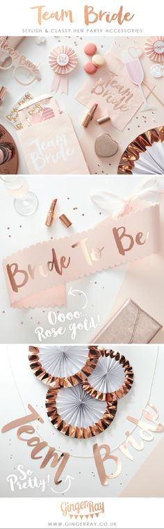 Gorgeous Classy hen party bachelorette sash and decorations in blush pink and rose gold from ginger ray. DIY modern Bridal Shower Decor ideas & inspiration which your friend will love! Classy Bachelorette Party, Bachelorette Sash, Bachelorette Decorations, Wedding Decorations, Rose Gold Party Decorations, Hens Night Decorations, Gold Bridal Showers, Bridal Shower Party, Hen Night Ideas