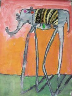 ✿ ChumleyScobey Art Room: Dali's Long-Legged Elephants (Fourth Graders) ✿