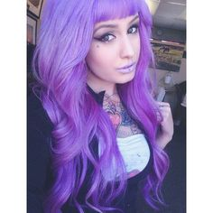 Purple #lilac #hair #bright #dyed #coloured ❤ liked on Polyvore featuring accessories
