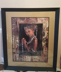 VERY LARGE MOUNTED & FRAMED PRINT - SISTERS OF THE SEA - PRE-OWNED-AFRICAN THEME