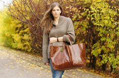 Brown  Oversized  Bag by patkas on Etsy, $170.00