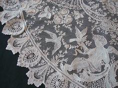 Maria Niforos - Fine Antique Lace, Linens  Textiles : Antique Lace # LA-219 Exquisite Brussels Point De Gaze Lace w/ Cherubs