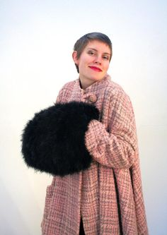 40s Rare Black Marabou Muff, Soft Feather Muff, Large Feather Hand Warmer, Vintage 1940s Marabou Down Muff