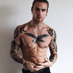 14 Quick Tips Regarding Mens Body Tattoos Mens Body Tattoos, Black Men Tattoos, Girl Tattoos, Male Chest Tattoos, Male Tattoo, Cool Tattoos For Guys, Badass Tattoos, Trendy Tattoos, Tattoos Pinterest