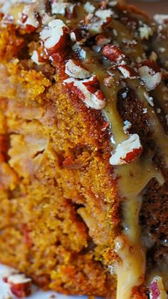 Apple Pumpkin Bundt Cake with Caramel and Pecans ~ This is an absolutely amazing cake: moist, light, not dense. It gets only better the next day!
