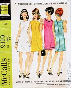 McCalls 9119 Misses Wrap Arounder Dress Pattern 6 Versions Womens Vintage Sewing Pattern Size Large Bust 36 38 - Pattern Gate Vintage Dress Patterns, Clothing Patterns, Vintage Dresses, Vintage Outfits, Vintage Clothing, 60s And 70s Fashion, Vintage Fashion, Retro Fashion, Vintage Style