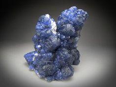 Blue Fluorite on Quartz