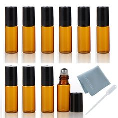 ELFENSTALL 10pcs 5ml(1/6oz) Roll on Glass Bottle for Essential Oil - Empty Aromatherapy Perfume Bottles - Refillable Slim with Metal Ball and Black Lid Amber   FREE Dropper *** Remarkable product available now. : aromatherapy oils
