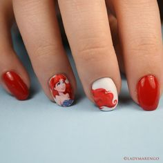 Just Ariel, the little mermaid nailart Ariel Nails Fail Nails, Toe Nails, Diy Step By Step, Mermaid Nails, Disney Nails, Cute Rings, Cute Nail Art, Nail Inspo, Nails Inspiration