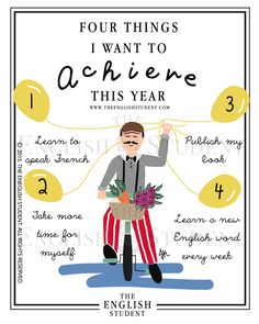 Make plans for your new year! Download this little work of art for free and write in things you want to achieve this year!  www.theenglishstudent.com