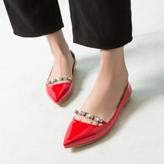 Aliexpress.com : Buy Desinger's Flats Red Black Size 34 39 Patent Leather  Rhinestone Shoes Woman Lolita Slip On Pointed Toe zapatos mujer For Lady  from ...