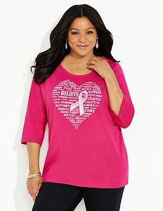 Buy this tee and Catherines will contribute $5 to support breast cancer research funded by the American Cancer Society. Our new tee proudly displays a heart of hopeful words with the signature breast cancer ribbon. Scoop neckline. Three-quarter sleeves. Catherines tops are designed for the plus size woman to guarantee a flattering fit. catherines.com