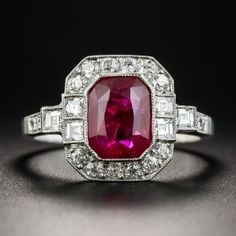 Antique 2.34 Carat Natural (unheated) Burma Emerald-Cut Ruby and Diamond Ring. The price is only $75,000!!!