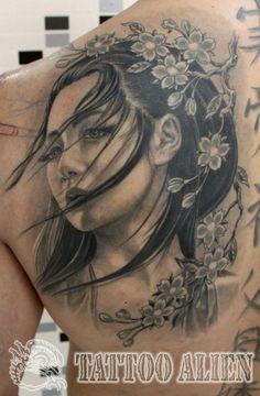 Sad Geisha Tattoo....Would like something like this to finish my half sleeve