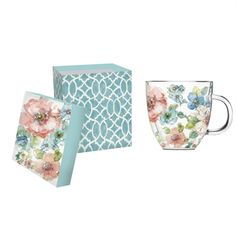 Double walled glass cafe cup, with gift box. $20.99