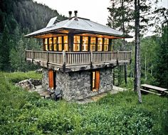 The Fire Tower Cabin in Montana. This tiny home was built to resemble a fire tower, and is entirely self-sufficient.