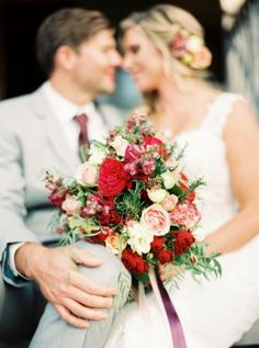 Marsala-Inspired Bridal Bouquet. Maggie Bride Ashleigh wore Pia by Maggie Sottero at her Marsala Country Wedding in Australia | Casey J. Photography
