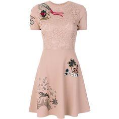 Valentino tattoo dress ($3,980) ❤ liked on Polyvore featuring dresses, short circle skirt, crew neck dress, short sleeve dress, pink circle skirt and valentino dress