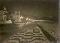 Copacabana Beach at night in the 20's - this makes me magically travel back in time because I biked along this avenue at night some 40 years later when it was still far less crowded than today.