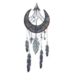 Crescent Moon Native-Style Metal Wall Decor This beautiful interpretation of a dream catcher features a lovely crescent moon design adorned with beads and metal feathers. Feather Wall Decor, Tree Wall Decor, Metal Wall Decor, Dream Catcher Drawing, Dream Catcher Tattoo Design, Drawings Of Dream Catchers, Dream Catcher Tattoo Small, Cresent Moon, Crescent Moon Tattoos