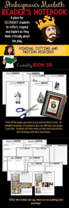 """SHAKESPEARE""""S MACBETH: high school English students can use this notebook to reflect, respond and think critically about the play."""