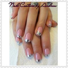 Gorgeous! CND Shellac in Blush Teddy with silver foil tips!