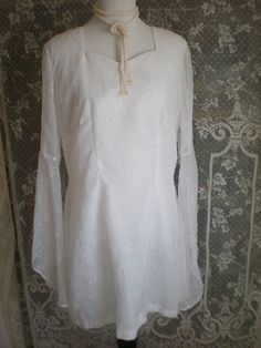 SALE  Vintage Hippie Wedding Dress  Size Med to by Pursuation, $52.00