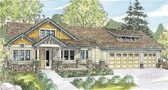 Craftsman Home Plans - Updated Craftsman home plan is designed for construction on a view lot that slopes down at the rear. Vaulted ceilings add loft to front porch and deck, volume to foyer, den, great room, owners suite. Daylight basement has two naturally bright bedroom suites, plus a large family room.