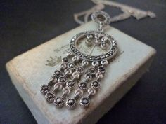 "Unique Sterling silver and marcasite pendant necklace - Vintage - unusual - 925 - 2.25"" pendant - 24"" neckalce by MalvernJewellery on Etsy"