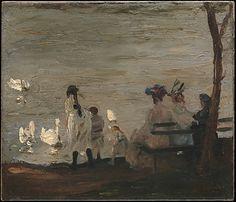 "le-desir-de-lautre: ""George Bellows (American, 1882-1925), Swans in Central…"