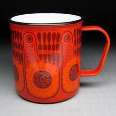 vintage FINEL porcelain enamel mug cup finland by jumpinacrater