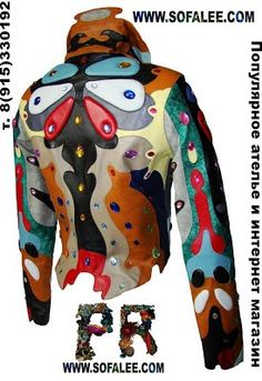 №20 Bright leather jacket with crystals for ladies Butterfly 7