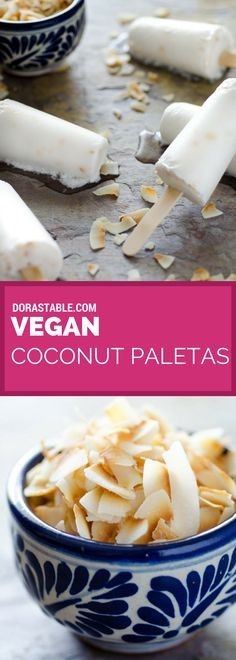 This recipe for vegan coconut paletas (paletas de coco) is super easy to make and has only 3 ingredients. They are creamy, but not too rich. A vegan Mexican recipe.