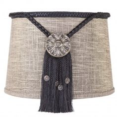 Brandi Renee Designs - All Lit Up Suit and Tie Lampshade - Elegant, chic and refined.  Gold barrel and silver medallion, accented with a dark blue tassel.