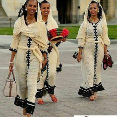 Group picture with habesha kemis . Beautiful Ethiopian Women, Ethiopian Beauty, Ethiopian Wedding Dress, Ethiopian Dress, Ethiopian Traditional Dress, Traditional Dresses, African Wear, African Dress, Hebrew Israelite Clothing