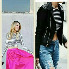 SALE HP♡ striped crop top Get the look with the scoop neck quarter sleeve crop top! Charlotte Russe Tops Crop Tops