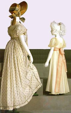 Left: English day dress of embroidered Indian muslin, ca. 1810 (this photograph shows clearly the general Regency strategy of trying to make dresses look narrow when seen from the front, but gathering material behind so that the dresses would remain easy to walk in, despite being long and not having any slits).
