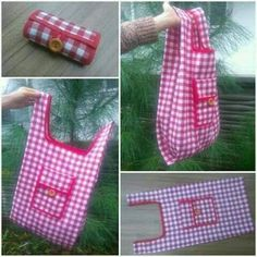 Durable Large-Capacity Storage Shopping Bags - Her Crochet Sewing Tutorials, Sewing Hacks, Sewing Crafts, Sewing Projects, Bag Patterns To Sew, Sewing Patterns, Fabric Gift Bags, Patchwork Bags, Denim Bag