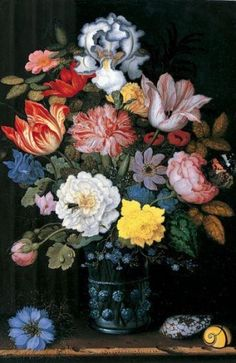 ''Floral Still Life with Shells'' by Balthasar van der Ast(1594-1657)  Date: 1622 via terminartors