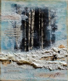 """Johwey Redington Recollections Series Opus No. 4 (""""The Call of the Wild"""") encaustic mixed media on braced wood x x Mixed Media Artwork, Mixed Media Collage, Collage Art, Canvas Collage, Encaustic Painting, Medium Art, Altered Art, Altered Canvas, Art Techniques"""