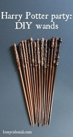 Chop sticks (more inexpensive) or knitting needless for DIY Harry Potter wands. Chop sticks (more inexpensive) or knitting needless for DIY Harry Potter wands. Chop sticks (more inexpensive) or knitting needless for DIY Harry Potter wands. Harry Potter Diy, Magie Harry Potter, Harry Potter Fiesta, Harry Potter Thema, Theme Harry Potter, Harry Potter Wedding, Harry Potter Stick, Harry Potter Adult Party, Harry Potter Halloween Costumes
