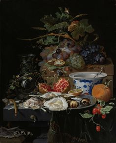 Still Life with Fruit, Oysters and a Porcelain Bowl, Abraham Mignon, 1660 - 1679