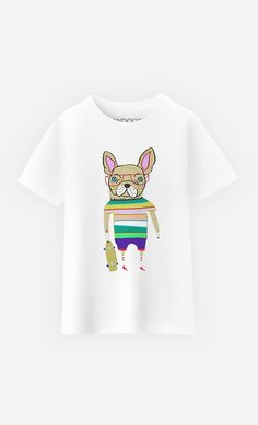 8e36167387d58 T-Shirt Enfant French Bulldog Skater par Ashley Percival - Wooop.fr