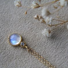 Moonstone & Tanzanite Delicate Necklace by ATELIER Gaby Marcos