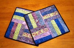 Batik Quilted Table Toppers set of two 2 Purple by MyBitOfWonder