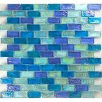 "Aqua Mosaics - Glass Mosaics - 1"" x 2"" Brick Poured Mosaic in Light Blue Blend"