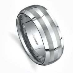 Top Value Jewelry - Men Tungsten Wedding Band, His Engagement Tungsten Carbide Ring, Titanium Color, Double Brush Lines, 8MM - (Sizes: 8-14) - Half Sizes Available Top Value Jewelry. $26.99. Perfect For Wedding, Engagement or Everyday Fashion. Dome Shape, High Polish Finish Beveled Edge. Classy and Elegant Tungsten Carbide Wedding Band. High End Design with Double Brush Matte Lines. Comfort Fits - 100% Satisfaction