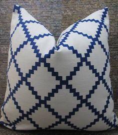 Lulu DK Chant Indigo - Designer Pillow Cover -