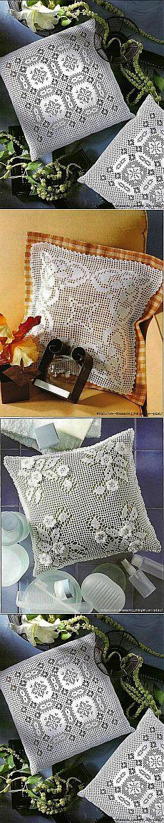 Подушки в филейной технике.